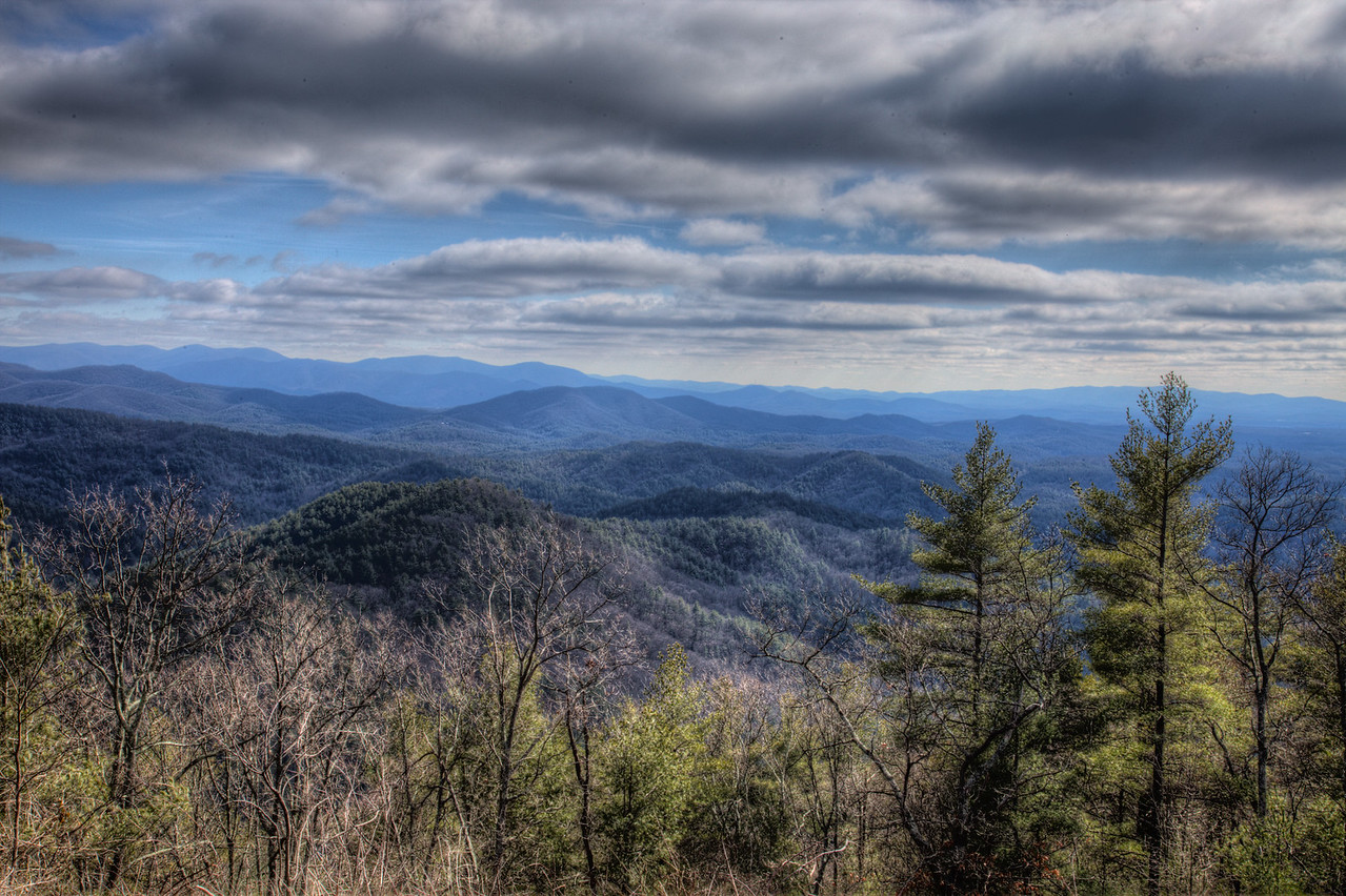 View from the Cohutta Mountains looking east toward the Rich Mountain Wilderness.