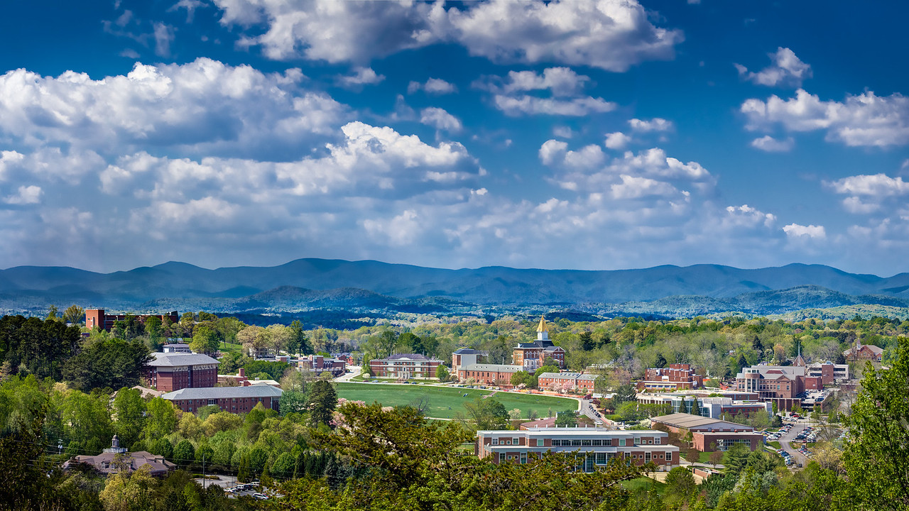Blue Ridge Mountains behind the University of North Georgia,  Dahlonega, Ga.