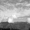 Clouds stand on Wilson, BW