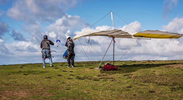 Hang gliders prepare for take-off near California State University at San Diego.