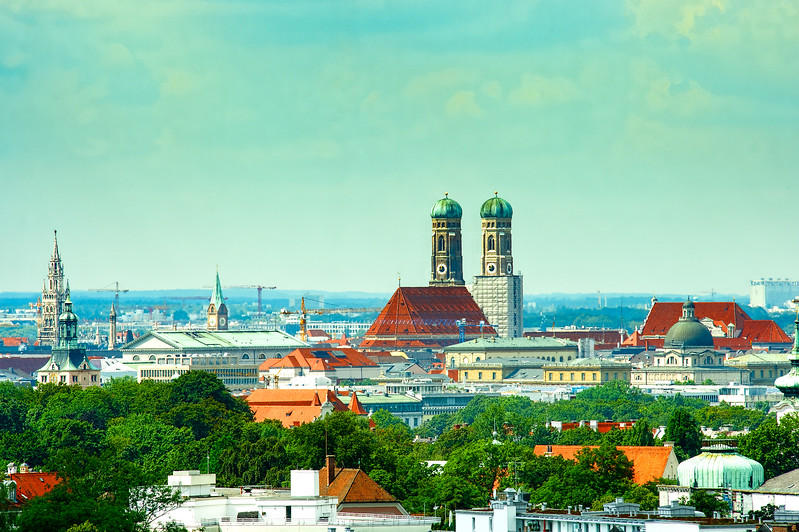Munich, Bavaria, Germany. View from the Westin Grand Hotel.