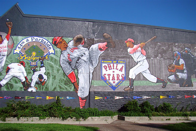 "Across Belmont Avenue from the Memorial Park is the mural ""Philadelphia Stars: a tribute to Negro League baseball"". The mural is part of the Philadelphia Mural Arts Program. It was painted by Philadelphia artist David McShane, and dedicated on September 19, 2006...The mural has been described as an ""impressionistic collage of scenes""; McShane consulted with surviving Stars players on their memories of the ballpark before creating the work."