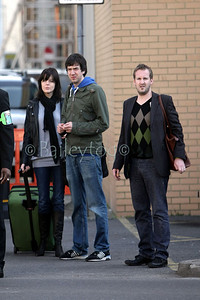 Snow Patrol leave a Swindon Pub (O'Neills) after appearing on Chris Moyles Radio one show Tue 17th March 2009. The show was bradcast from the pub to announce that the radio one big weekend would be in Swindon this year