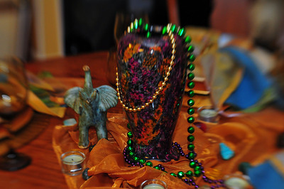 Tablescape  The centerpiece is a JADE vase.  Yes, really.  I have three pieces of this rare and strikingly beautiful art.  It is mined out of mountains in China.  Polished, it is smooth, cool, and glittery.  The colors are rich, vibrant and vary greatly from piece to piece.  I am so glad to have found this little shop that carried them in Blowing Rock, North Carolina as they are highly collectible and sought after.