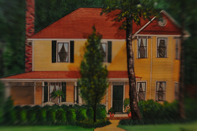 We commisioned an artist by the name of Marty Wilson to paint a portrait of our house back in 1990.  This is a picture of that painting.  We lived in this house in Bayou Oaks for 8 years before moving into something larger.  This was a sweet little house though.  I hear it is for sale again.  4 bedrooms, 2 1/2 baths, parlor, great room, deck with hot tub, double garage, 2800 sq ft.  But the best part is the backyard filled with old Live Oak trees.  No clue what the price is now.  Wanna buy it?