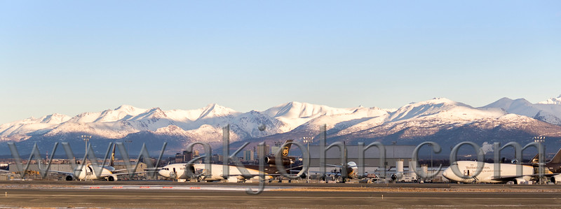A busy day at UPS ramp at Anchorage Int'l Airport