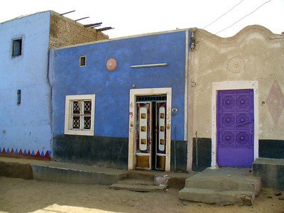 The colorful facades of a Nubian village.