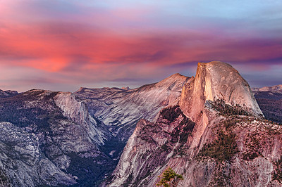 The Pink Falls on Half Dome