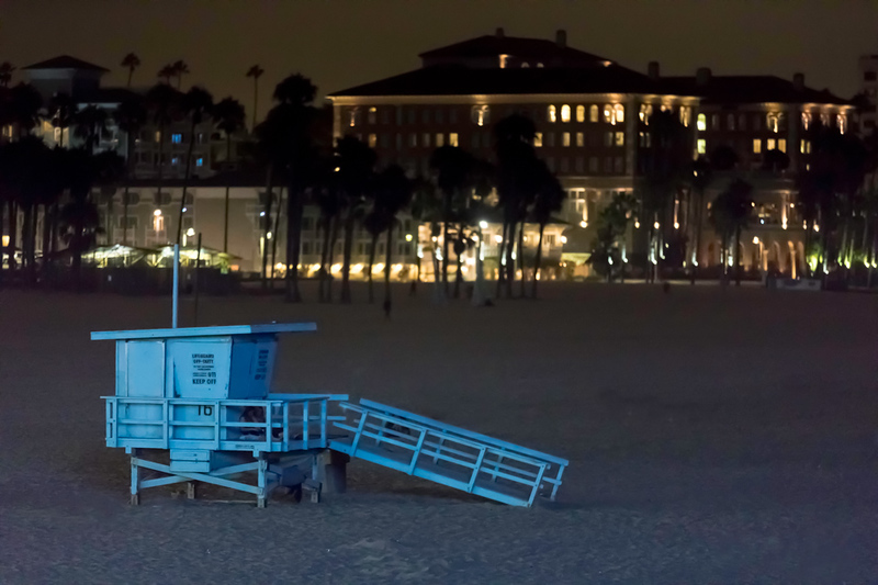 A lifeguard station on the Santa Monica beach at night