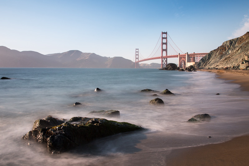 Golden Gate Bridge from Marshall Beach.  Slowed the shutter speed using several ND filters. My favorite of the Golden Gate and Marshall Beach series with slow water.