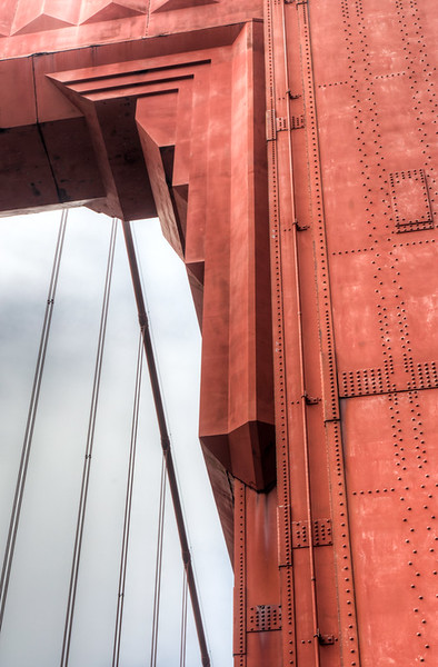 The structure of the Golden Gate Bridge - nice art deco style