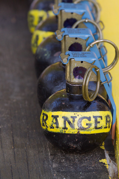 Training grenades painted for the Best Ranger contest