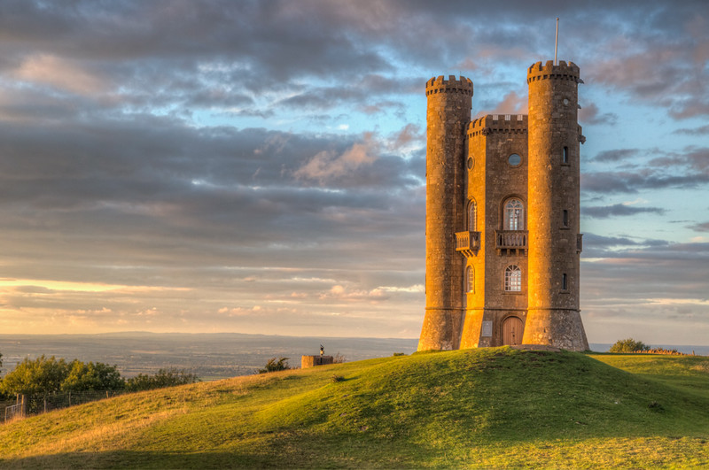 The Broadway Tower at sunset - it looks over the countryside from a high hill