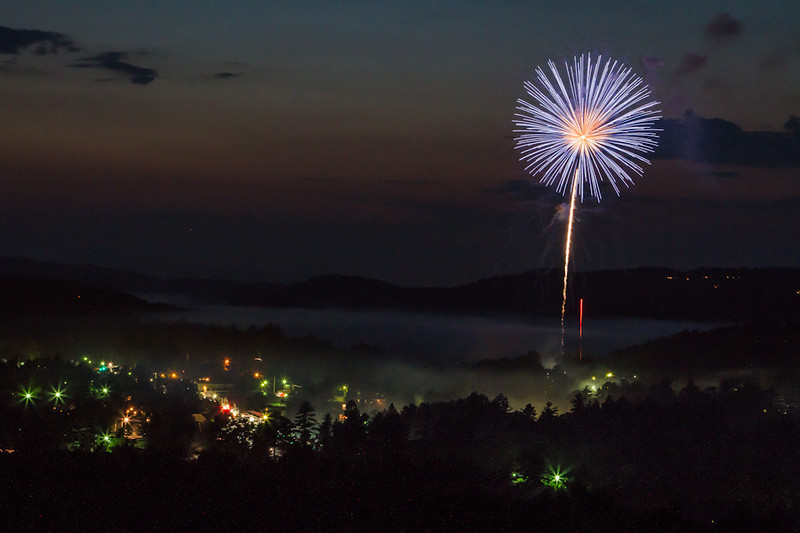A firework display over Highlands, NC