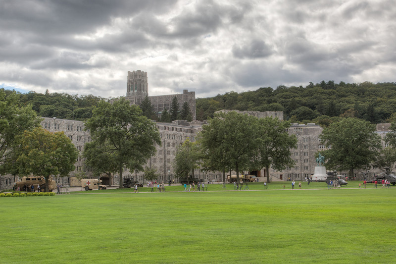 Pretty standard for West Point in the winter - dark skies contrasting with the grey buildings.