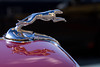 A Ford Lincoln Greyhound Hood Ornament at a car show.