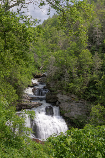 Cullasaja Falls plunges 250 feet feed by the  Cullasaja River in the Nantahala National Forest