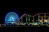 Santa Monica pier amusement park at night