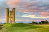 The sunset on the Broadway Tower and English countryside