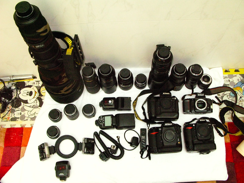 Here is the complete range of camera bodies, lenses and flash guns that I have as of now. Details on each and what I use when will follow in next photographs