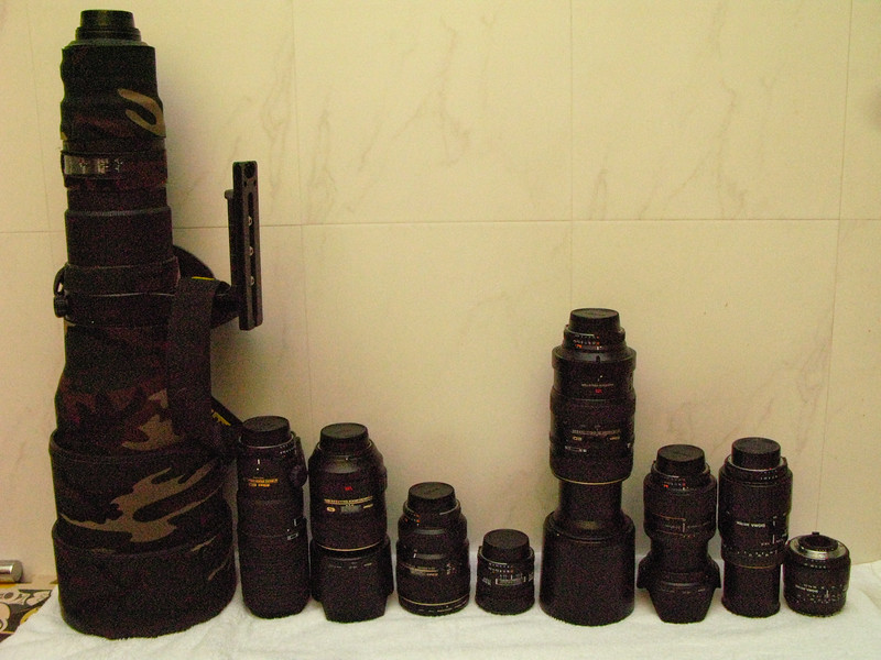 This is my entire lens range in order of when I got them. The oldest on the right and the latest on the left.