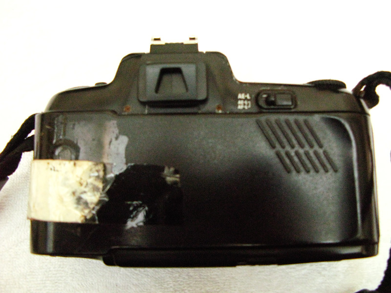 My Nikon N6006 from back side. The back cover was broken and I had put adhesive tape to get it going and it surprisingly worked well for many months, before I got my F5