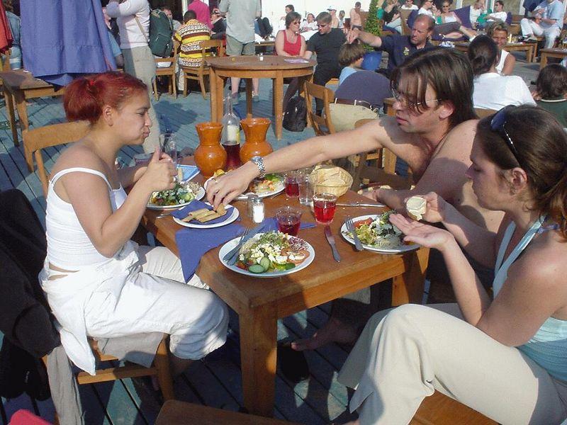 "At <a href=""http://www.beachclubfriends.nl/"">beach club Friends</a>, on the Zuiderstrand, just North of Kijkduin. <br>My friends Juli, Harrald and Saskia enjoying a late lunch."