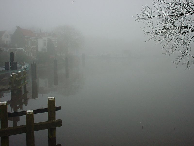 Fog over the Oosterhaven, Groningen, on a cold winter morning on my way to work, Febuary 1999