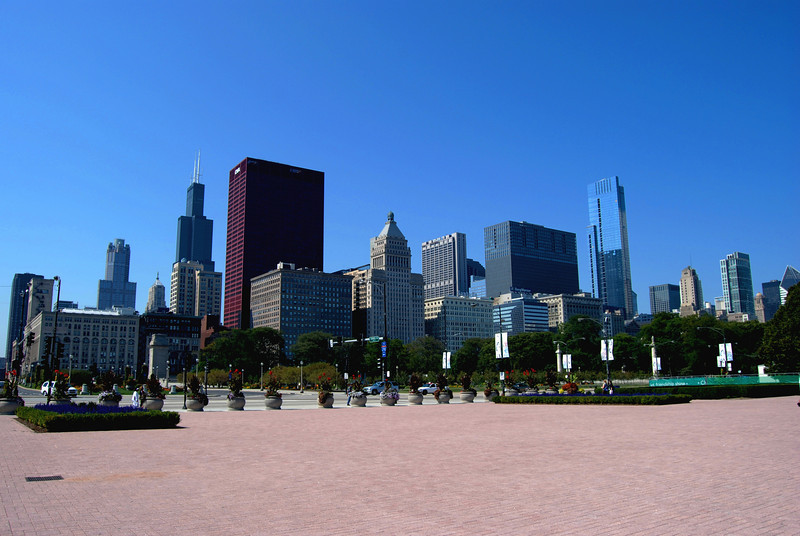 Chicago Skyline View from Buckingham Fountain Area