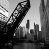 Chicago River Leading to Willis Tower (B&W)