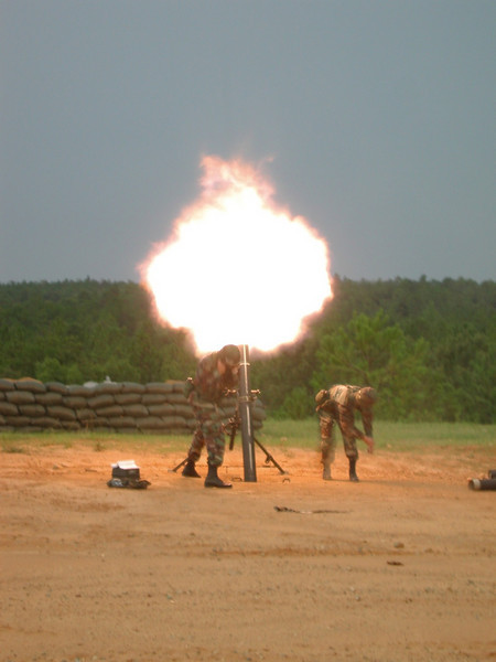 blast from 120mm mortar fire at USAIC