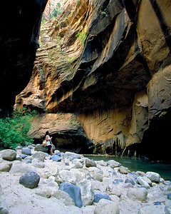 hiking at Zion Canyon on the North Fork of the Virgin River
