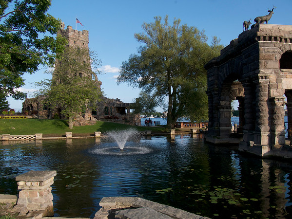 The Archway entry boat lagoon for Boldt Castle.  The Alster Tower in the background.