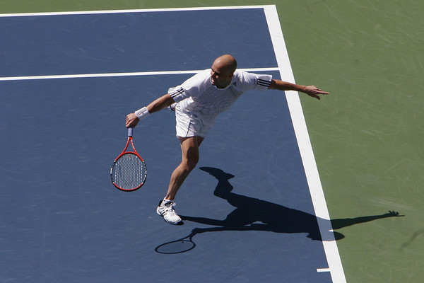 Andre Agassi with a backhand slice