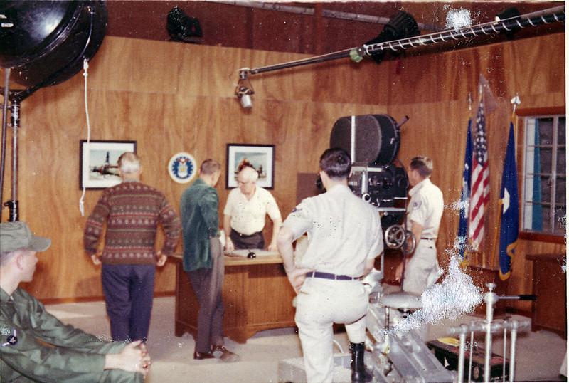Just after camera school, with the 35mm BNC Mitchell on the Orlando AFB, soundstage.  1962.