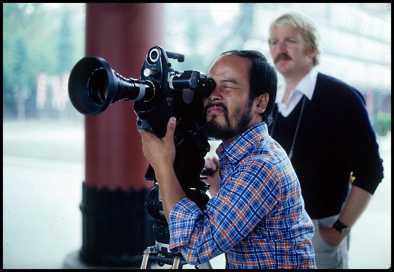 Kiyo Mourakami, second camera, Dan Biggs, producer/director.  1978.  <br /> Photo: Richard Blakeslee