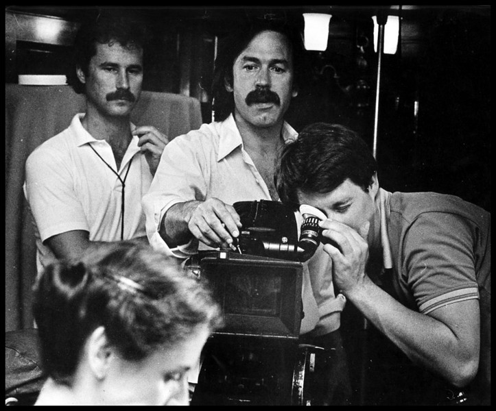"""Unhinged"",  producer/director, Don Gronquist looking.  Harry Dawson, behind, J. E. Penner, foreground.  1983.<br /> Photo: Brent Wojahn"