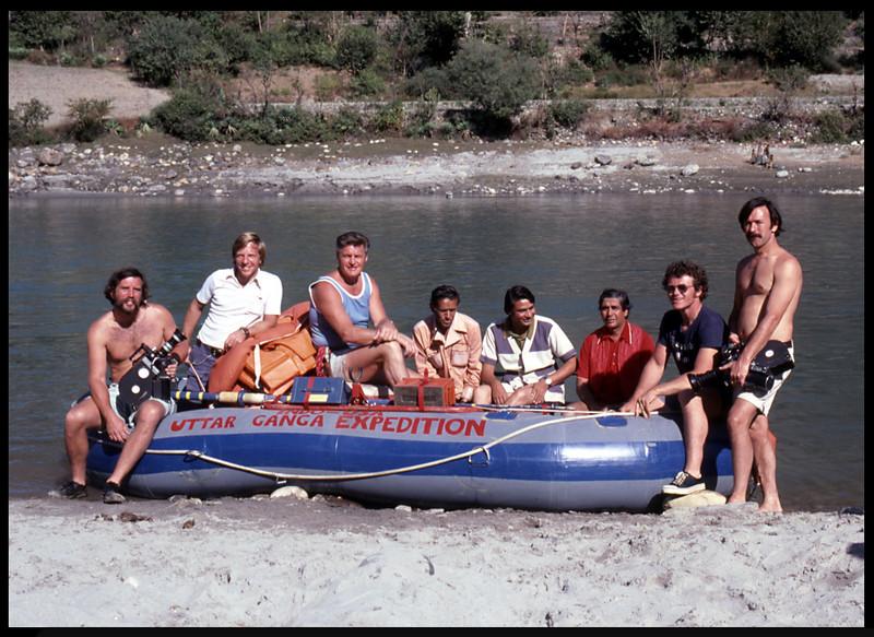 """Uttar Ganga Expedition"" (Rishikesh, India), with Reagan Ramsey.  Lute Jerstad on his left. 1975."