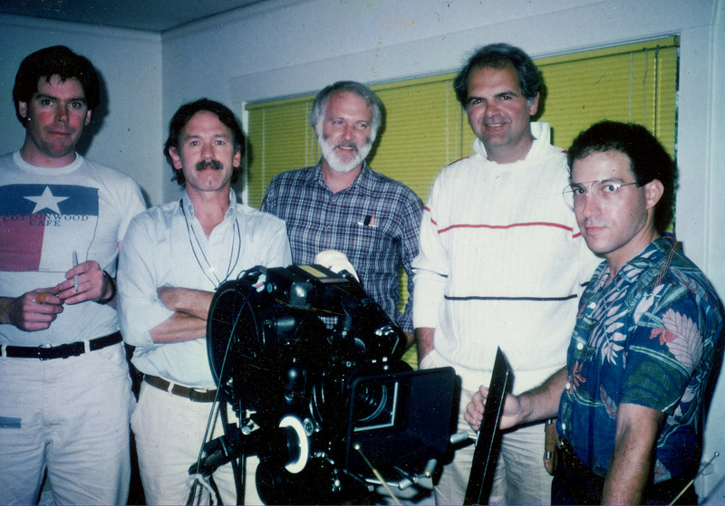 'National Video Stores', Eric Edwards, me, Tom Wiecks, the late Tom Denhart, Marty Oppenheimer with his Arri.  1986.