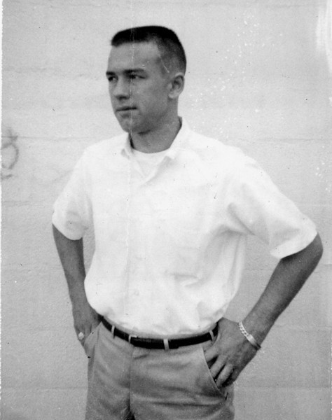 Just arrived at Orlando AFB, Florida.  Looking a little bit like Forrest Gump. 1961.