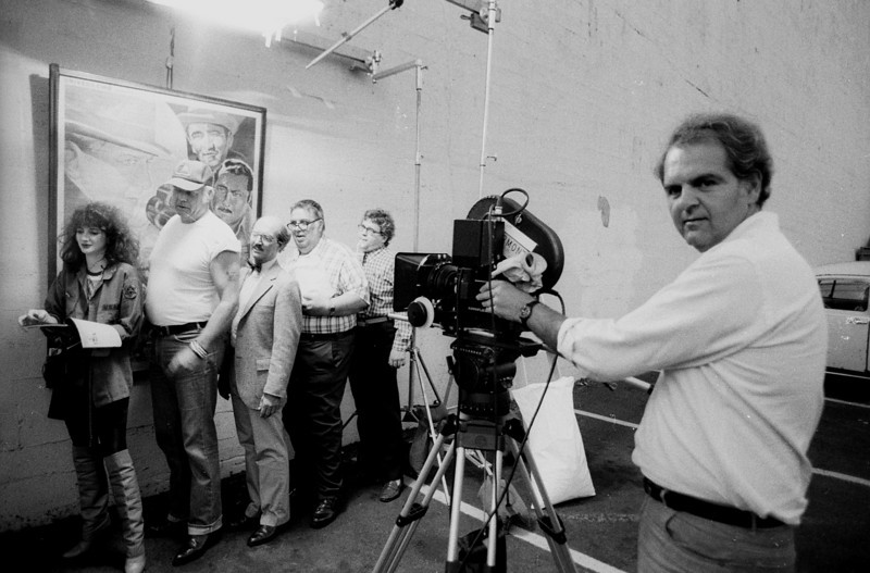 Tom Denhart, directing one of our spots for National Video Stores, 1985.<br /> Photo: Richard Blakeslee