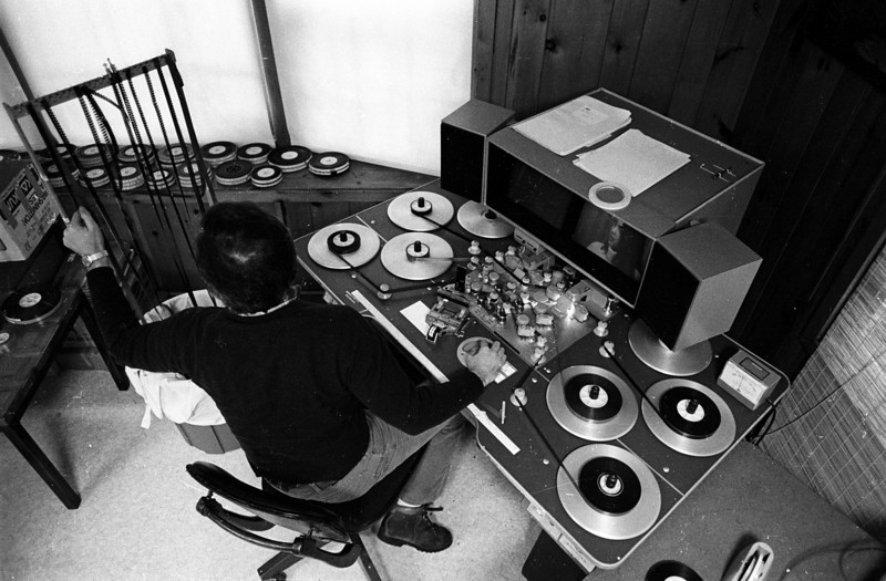 How we used to edit.  Bob Laird on the eight plate Steenbeck.  1978.<br /> Photo: Richard Blakeslee