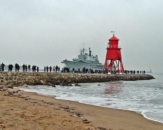 HMS Ark Royal on her farewell tour; approaching the Tyne at South Shields
