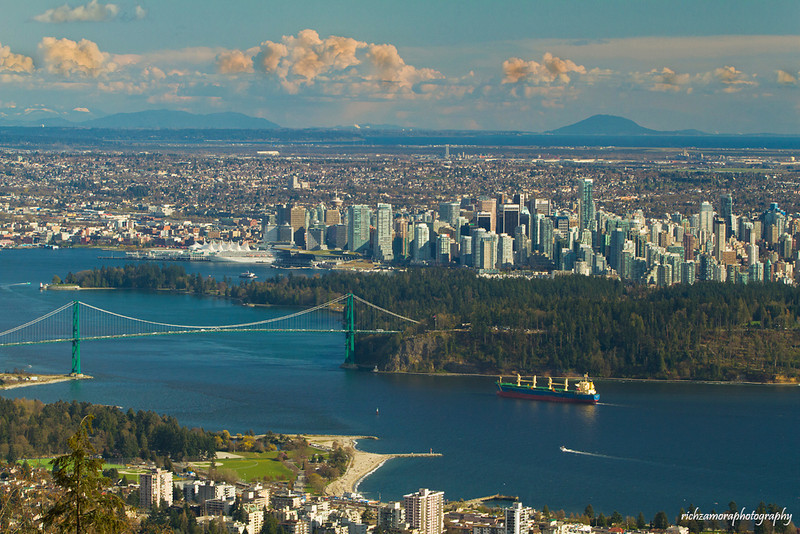 Lions gate bridge and downtown vancouver,viewed @ cypress mountain national provincial park.