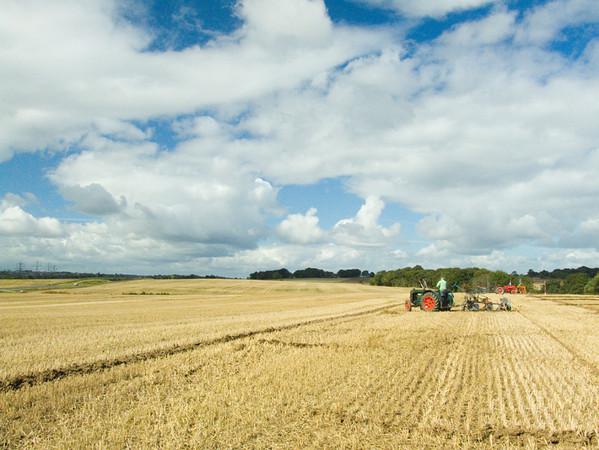 Vintage tractor and landscape
