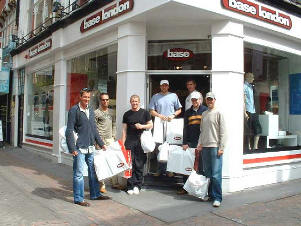 England Cricket team at the Base London shop on Carnaby Street