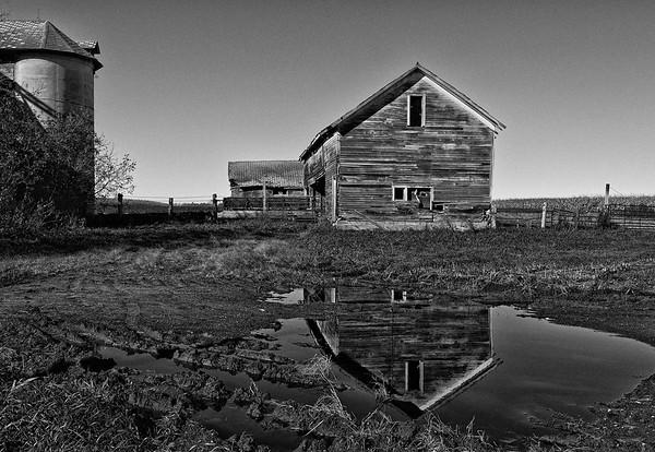 Unused farm buildings near Eau Claire, Wisconsin.