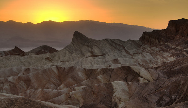 Death Valley, Calfornia. Sunset at Zabriskie Point.