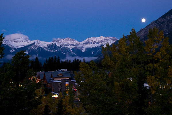 Moon over the town of Banff in the Banff National Park, Alberta.