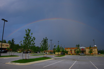 A freak thunderstorm in Fayetteville Wednesday night brought out a beautiful rainbow.